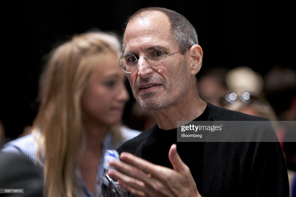 <a gi-track='captionPersonalityLinkClicked' href=/galleries/search?phrase=Steve+Jobs&family=editorial&specificpeople=204493 ng-click='$event.stopPropagation()'>Steve Jobs</a>, chief executive officer of Apple Inc., speaks to members of the media during an Apple product unveiling event in San Francisco, California, U.S., on Wednesday, Sept. 1, 2010. Apple, building on its dominance in the music industry, introduced new iPods, added a social networking feature to its iTunes software, and unveiled a new Apple TV set-top box that offers television and movie rentals. Photographer: David Paul Morris/Bloomberg via Getty Images