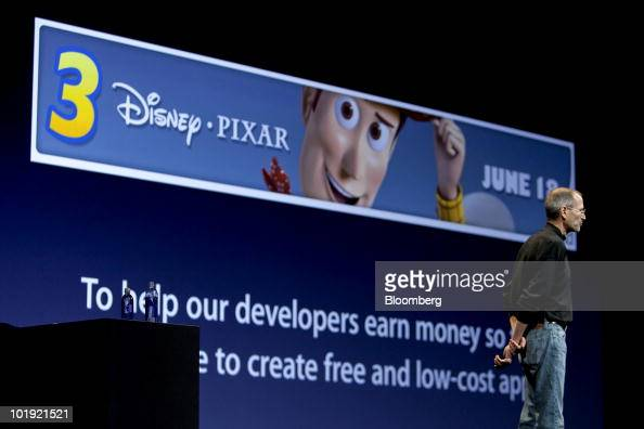 Steve Jobs chief executive officer of Apple Inc talks about an advertisement for the 'Toy Story 3' film using Apple's iAd platform on the iPhone 4...