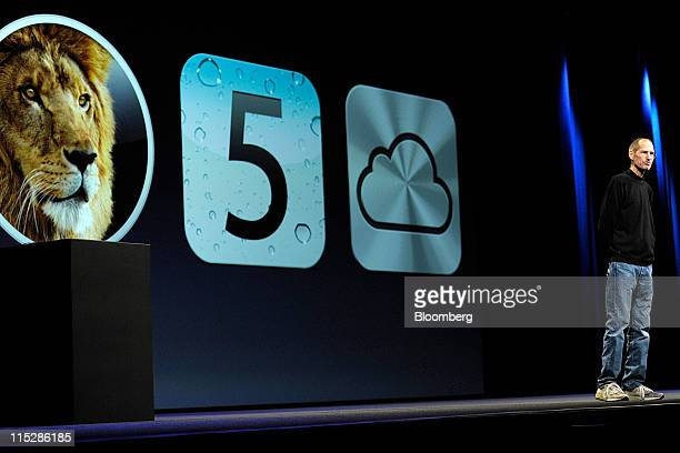 Steve Jobs chief executive officer of Apple Inc unveils the iCloud storage system at the Apple Worldwide Developers Conference 2011 in San Francisco...
