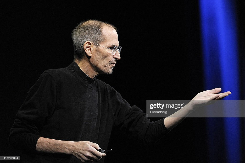 Steve Jobs, chief executive officer of Apple Inc., unveils the iCloud storage system at the Apple Worldwide Developers Conference 2011 in San Francisco, California, U.S., on Monday, June 6, 2011. Apple is using iCloud to retain its dominance in the smartphone and tablet markets amid fresh competition from devices powered by Google Inc.'s Android software. Photographer: David Paul Morris/Bloomberg via Getty Images
