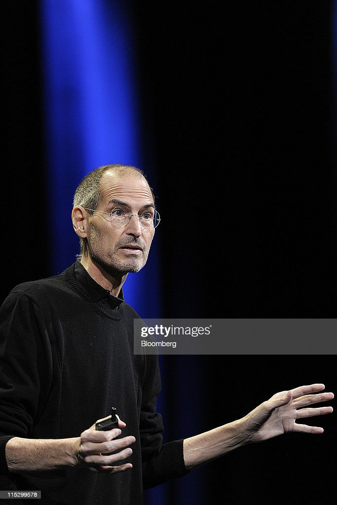 <a gi-track='captionPersonalityLinkClicked' href=/galleries/search?phrase=Steve+Jobs&family=editorial&specificpeople=204493 ng-click='$event.stopPropagation()'>Steve Jobs</a>, chief executive officer of Apple Inc., unveils the iCloud storage system at the Apple Worldwide Developers Conference 2011 in San Francisco, California, U.S., on Monday, June 6, 2011. Apple is using iCloud to retain its dominance in the smartphone and tablet markets amid fresh competition from devices powered by Google Inc.'s Android software. Photographer: David Paul Morris/Bloomberg via Getty Images