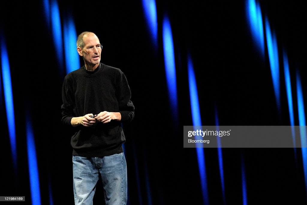 Steve Jobs, chief executive officer of Apple Inc., unveils the iCloud storage system at the Apple Worldwide Developers Conference 2011 in San Francisco, California, U.S., on Monday, June 6, 2011. Apple Inc. Chief Executive Officer Steve Jobs, who built the world's most valuable technology company, resigned. He is succeeded by Chief Operating Officer Tim Cook. Photographer: David Paul Morris/Bloomberg via Getty Images
