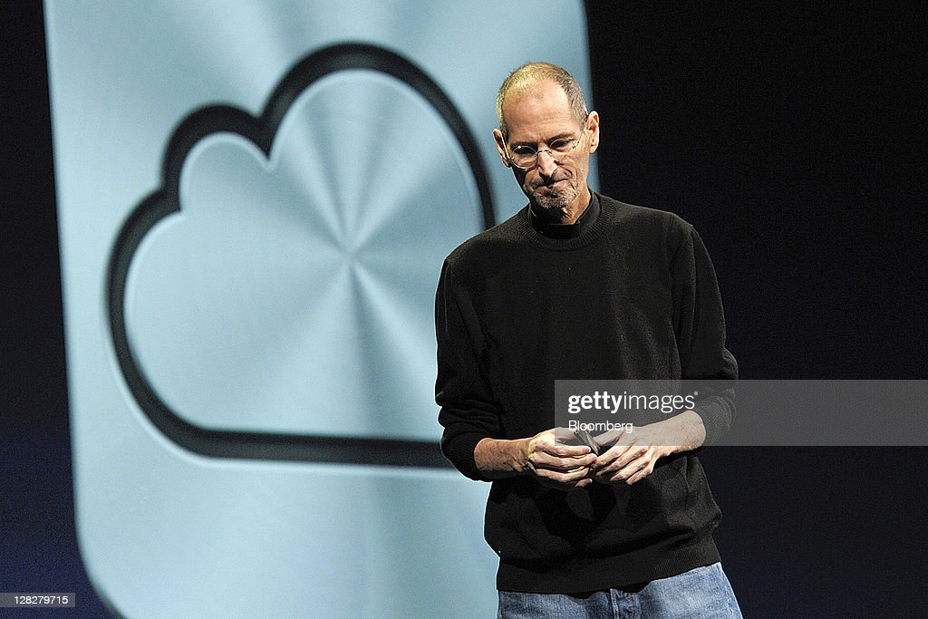 <a gi-track='captionPersonalityLinkClicked' href=/galleries/search?phrase=Steve+Jobs&family=editorial&specificpeople=204493 ng-click='$event.stopPropagation()'>Steve Jobs</a>, chief executive officer of Apple Inc., unveils the iCloud storage system at the Apple Worldwide Developers Conference 2011 in San Francisco, California, U.S., on Monday, June 6, 2011. Jobs, who built the world's most valuable technology company by creating devices that changed how people use electronics and revolutionized the computer, music and mobile-phone industries, died Wednesday, Oct. 5, 2011. He was 56. Photographer: David Paul Morris/Bloomberg via Getty Images