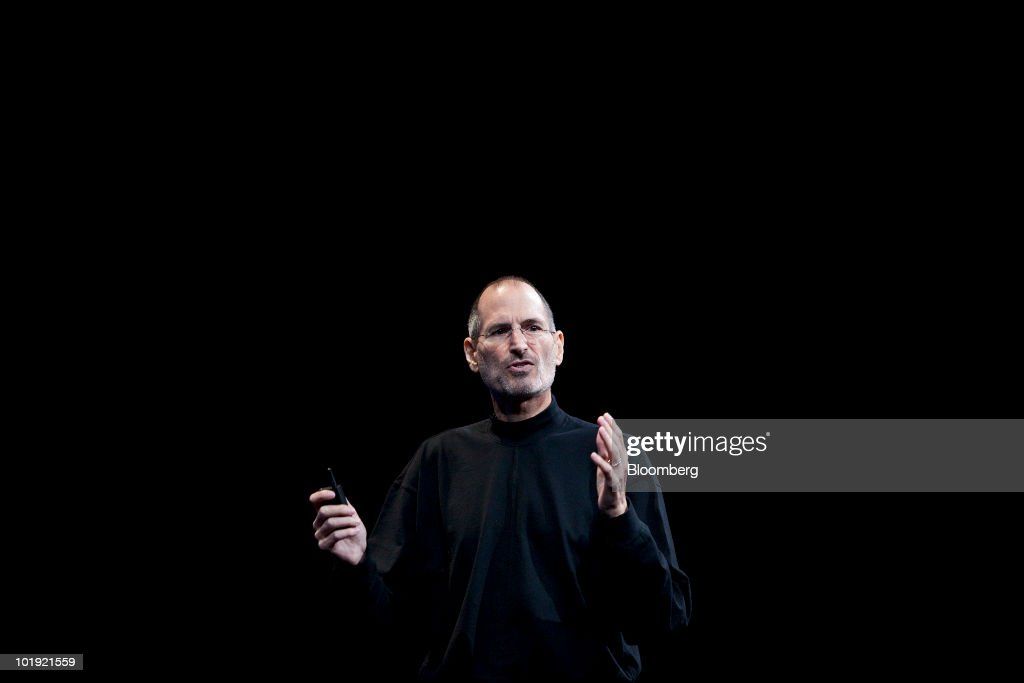<a gi-track='captionPersonalityLinkClicked' href=/galleries/search?phrase=Steve+Jobs&family=editorial&specificpeople=204493 ng-click='$event.stopPropagation()'>Steve Jobs</a>, chief executive officer of Apple Inc., unveils the iPhone 4 during his keynote address at the Apple Worldwide Developers Conference (WWDC) in San Francisco, California, U.S., on Monday, June 7, 2010. Jobs introduced the redesigned iPhone 4 , delivering a 24 percent thinner body and 100 new features. Photographer: David Paul Morris/Bloomberg via Getty Images