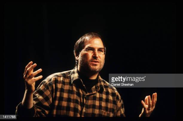 Steve Jobs gives the keynote address at the Cause Conference December 9 1998 in Seattle WA Jobs cofounder of Apple Computers left the company after a...