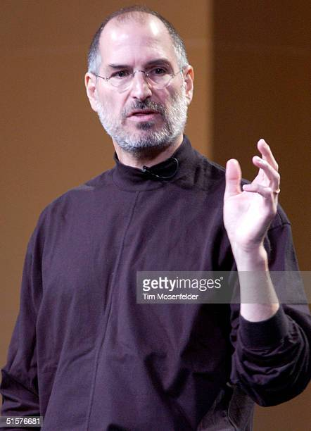 Steve Jobs of Apple Computer celebrates the release of a new Apple iPod family of products at the California Theatre on October 26 2004 in San Jose...