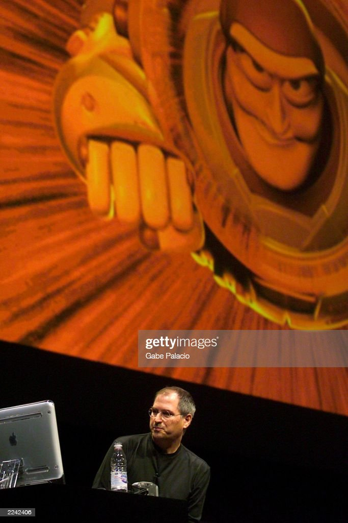 Steve Jobs uses a sample image from Pixar's Toy Story 2 to demonstrate the new features of Mac OSX version 101 during the keynote address at the...