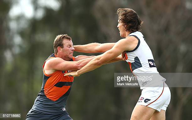 Steve Johnson and Phil Davis of the Giants compete during the Greater Western Sydney GIants AFL IntraClub match at Tom Wills Oval on February 17 2016...