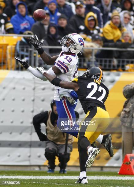 Steve Johnson of the Buffalo Bills pulls in the pass against William Gay of the Pittsburgh Steelers during the game on November 10 2013 at Heinz...