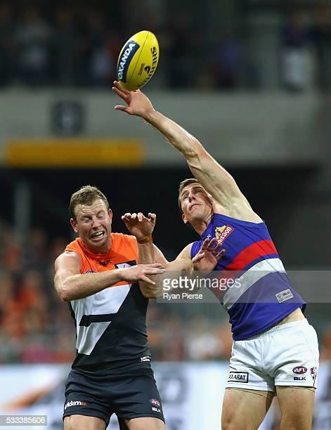 Steve Johnson of the Giants competes for the ball against Dale Morris of the Bulldogs during the round nine AFL match between the Greater Western...