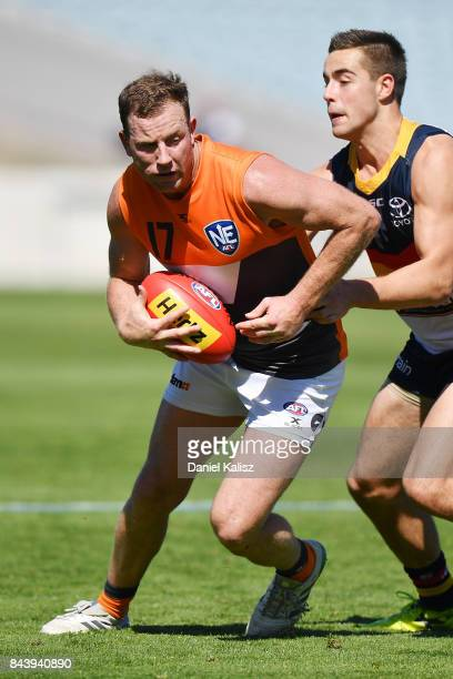 Steve Johnson of the Giants competes for the ball during a practice match between the Greater Western Sydney Giants and the Adelaide Crows at AAMI...