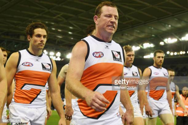 Steve Johnson of the Giants looks dejected after defeat during the round 12 AFL match between the Carlton Blues and the Greater Western Sydney Giants...