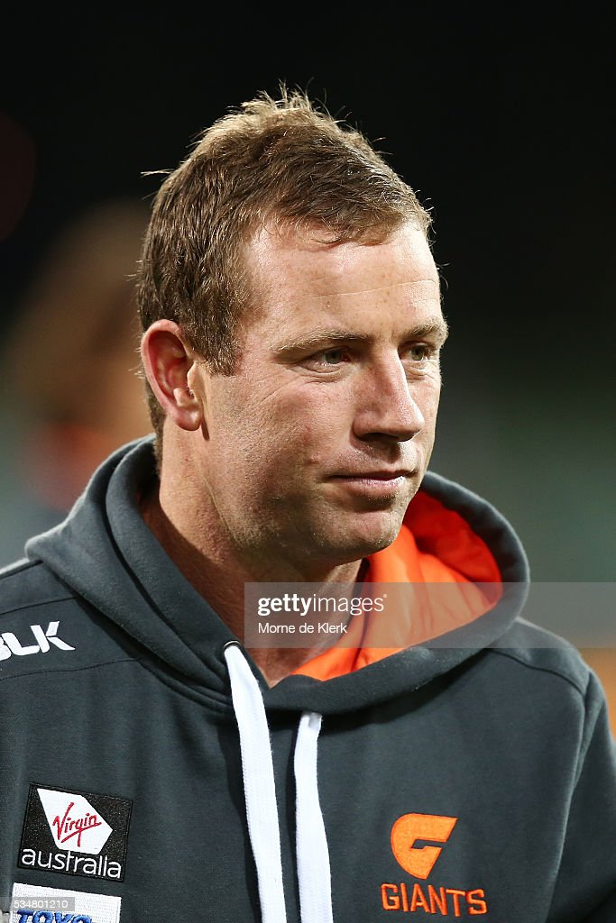 <a gi-track='captionPersonalityLinkClicked' href=/galleries/search?phrase=Steve+Johnson+-+Australian+Rules+Footballer&family=editorial&specificpeople=11430122 ng-click='$event.stopPropagation()'>Steve Johnson</a> of the Giants looks on before the round 10 AFL match between the Adelaide Crows and the Greater Western Sydney Giants at Adelaide Oval on May 28, 2016 in Adelaide, Australia.