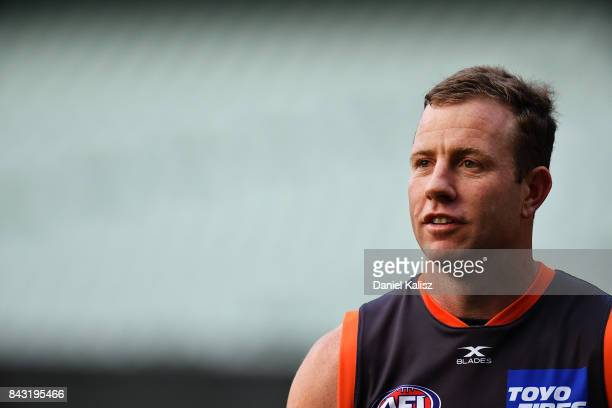 Steve Johnson of the Giants looks on during a Greater Western Sydney Giants AFL training session at Adelaide Oval on September 6 2017 in Adelaide...