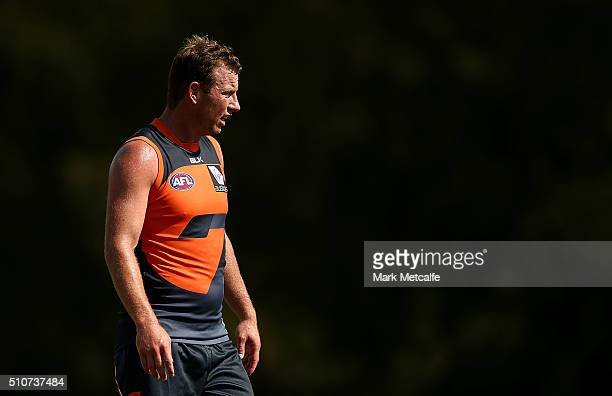 Steve Johnson of the Giants looks on during the Greater Western Sydney GIants AFL IntraClub match at Tom Wills Oval on February 17 2016 in Sydney...