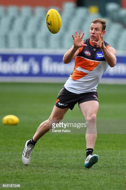 Steve Johnson of the Giants marks the ball during a Greater Western Sydney Giants AFL training session at Adelaide Oval on September 6 2017 in...