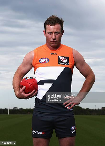 Steve Johnson of the Giants poses during a Greater Western Sydney Giants AFL media opportunity at Tom Wills Oval on October 21 2015 in Sydney...