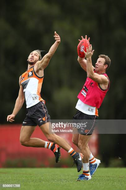 Steve Johnson of the Giants takes a mark during the Greater Western Sydney Giants AFL training session at WestConnex Centre on March 23 2017 in...