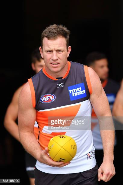 Steve Johnson of the Giants walks onto the field during a Greater Western Sydney Giants AFL training session at Adelaide Oval on September 6 2017 in...