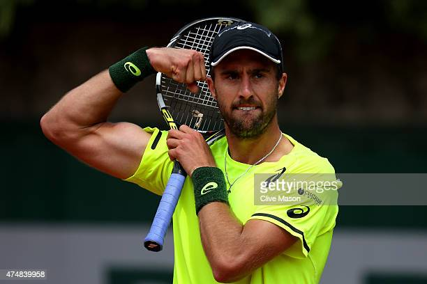 Steve Johnson of the United States celebrates match point during his men's singles match against Sergiy Stakhovsky of Ukraine during day four of the...