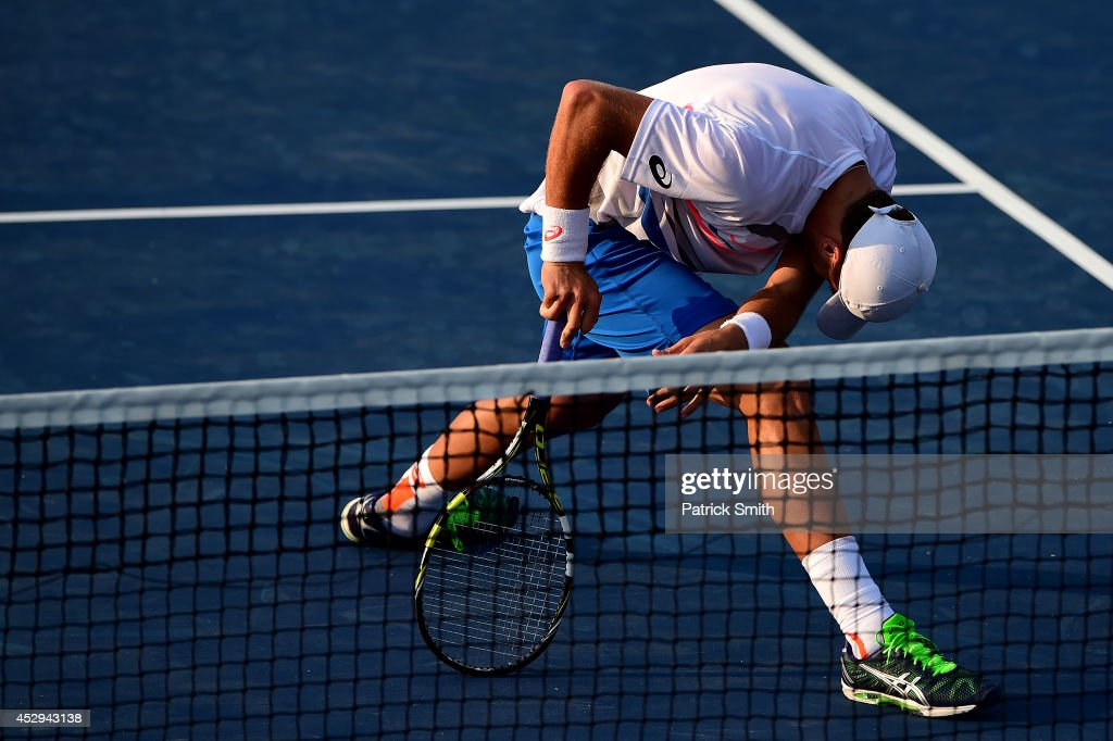 Steve Johnson of the United States reacts during a match against John Isner of the United States during Day 3 of the Citi Open at the William H.G. FitzGerald Tennis Center on July 30, 2014 in Washington, DC.