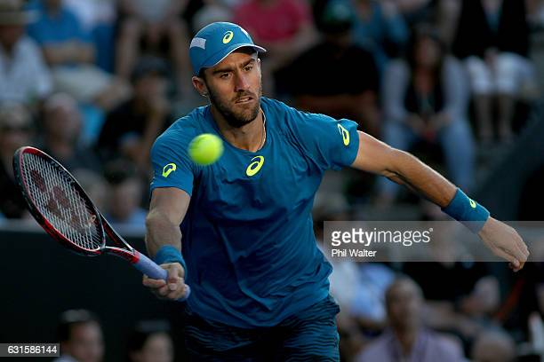 Steve Johnson of the USA playsa a forehand against Jack Sock of the USA in their semifinal match during the ASB Classic on January 13 2017 in...