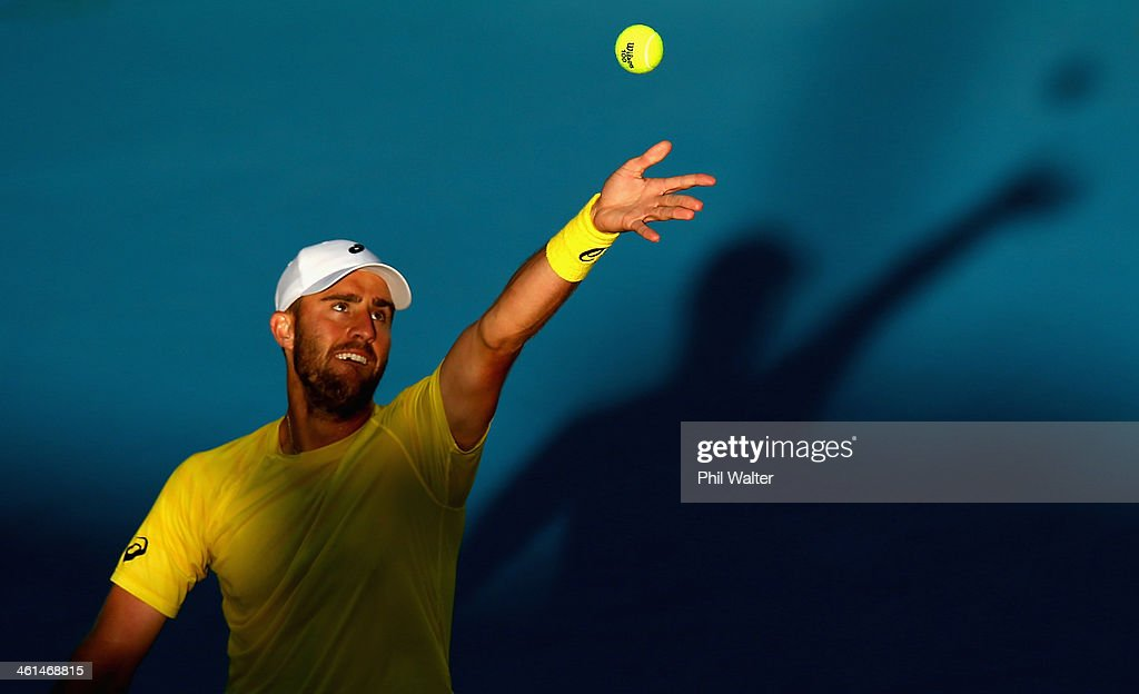 Steve Johnson of the USA serves against Yen-Hsun Lu of Chinese Taipei during day four of the Heineken Open at ASB Tennis Centre on January 9, 2014 in Auckland, New Zealand.