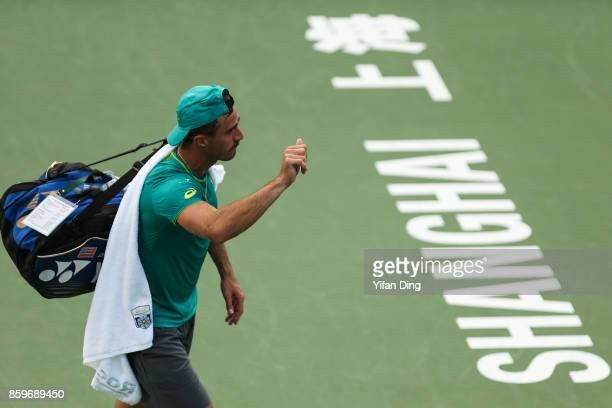 Steve Johnson of United States waves to the audience after winning the Men's singles mach against Nick Kyrgios of Australia on day 3 of Shanghai...