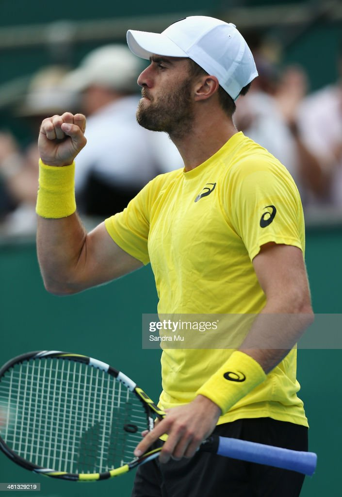 Steve Johnson of USA celebrates his win during his match against Kevin Anderson of South Africa on day three of the Heineken Open at ASB Tennis Centre on January 8, 2014 in Auckland, New Zealand.