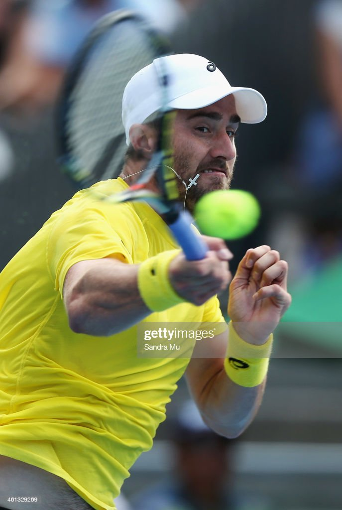 Steve Johnson of USA plays a forehand during his match against Kevin Anderson of South Africa on day three of the Heineken Open at ASB Tennis Centre on January 8, 2014 in Auckland, New Zealand.