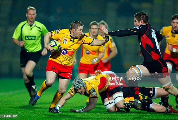 Steve Jones of NG Dragons breaks through Saracens defence during the LV Anglo Welsh Cup match between Saracens and NG Dragons on February 07 2010 in...