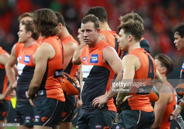 Steve Jonson of the Giants looks dejected after the round 17 AFL match between the Greater Western Sydney Giants and the Sydney Swans at Spotless...
