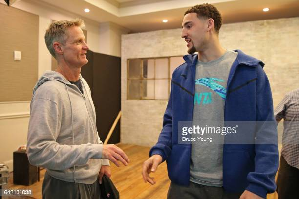 Steve Kerr and Klay Thompson of the Golden State Warriors talk during the 2017 AllStar Media Circuit at the Ritz Carlton on February 16 2017 in New...