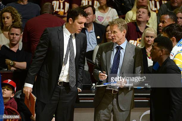 Steve Kerr and Luke Walton of the Golden State Warriors during the game against the Cleveland Cavaliers during the 2016 NBA Finals Game Three on June...