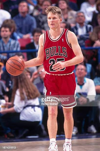 Steve Kerr of the Chicago Bulls dribbles the ball against the Sacramento Kings on February 1 1996 at Arco Arena in Sacramento California NOTE TO USER...