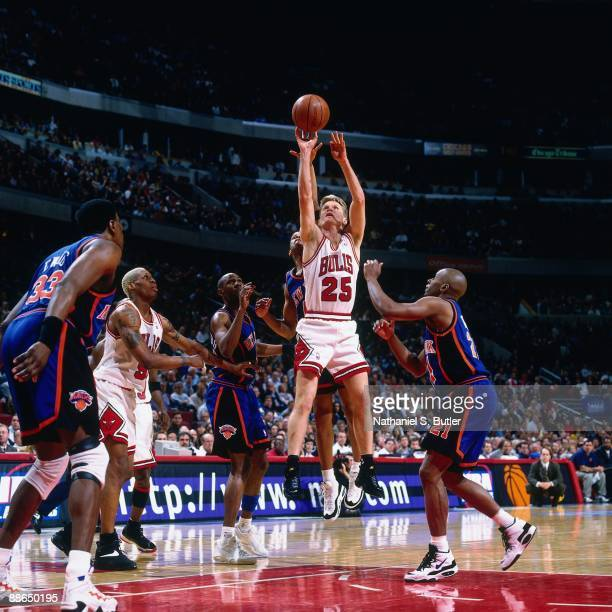Steve Kerr of the Chicago Bulls shoots a jump shot against the New York Knicks in Game Five of the Eastern Conference Semifinals during the 1996 NBA...