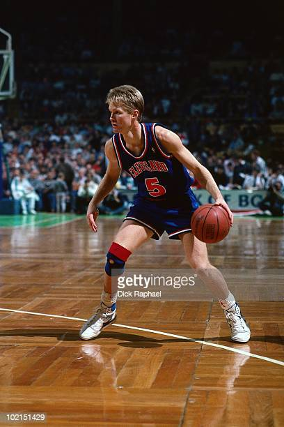 Steve Kerr of the Cleveland Cavaliers looks to make a move against the Boston Celtics during a game played in 1990 at the Boston Garden in Boston...