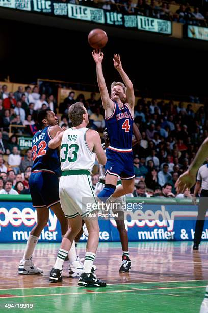 Steve Kerr of the Cleveland Cavaliers shoots against the Boston Celtics during a game played in 1992 at the Boston Garden in Boston Massachusetts...
