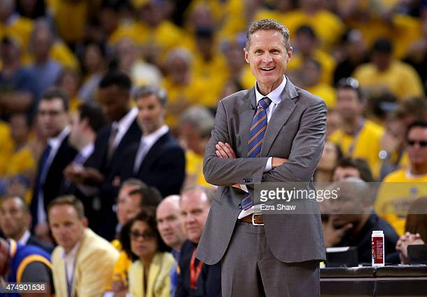 Steve Kerr of the Golden State Warriors calls out in the first half while taking on the Houston Rockets during game five of the Western Conference...