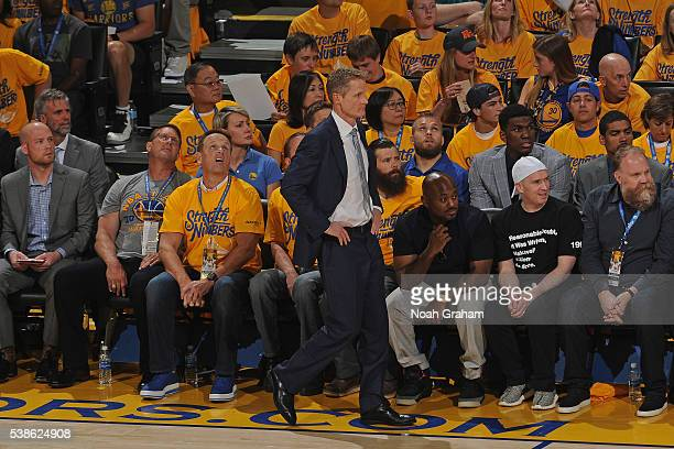 Steve Kerr of the Golden State Warriors coaches during Game Two of the 2016 NBA Finals against the Cleveland Cavaliers on June 5 2016 at ORACLE Arena...