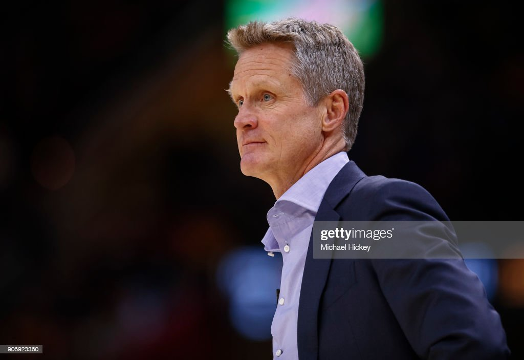 Steve Kerr of the Golden State Warriors during the game against the Cleveland Cavaliers at Quicken Loans Arena on January 15, 2018 in Cleveland, Ohio.