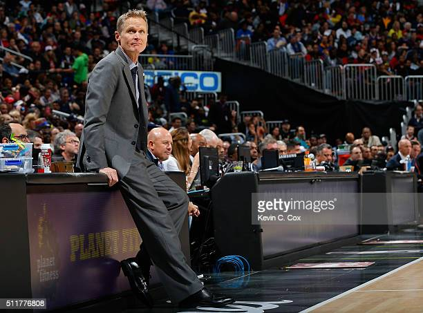 Steve Kerr of the Golden State Warriors looks on during the game against Atlanta Hawks at Philips Arena on February 22 2016 in Atlanta Georgia NOTE...