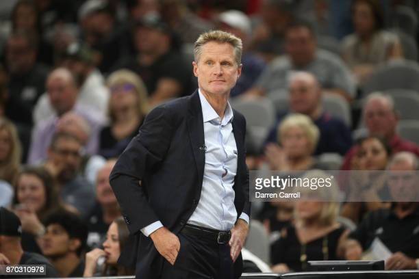 Steve Kerr of the Golden State Warriors looks on during the game against the San Antonio Spurs on November 2 2017 at the ATT Center in San Antonio...