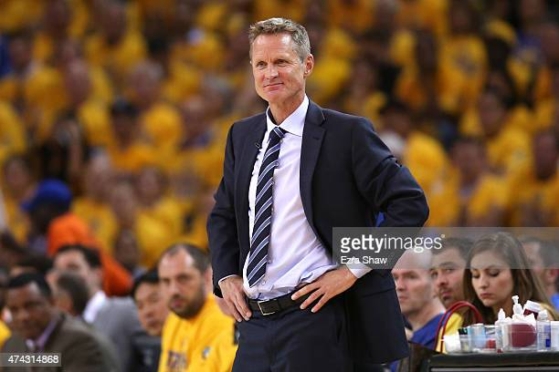 Steve Kerr of the Golden State Warriors looks on from the sideline in the second quarter against the Houston Rockets during game two of the Western...