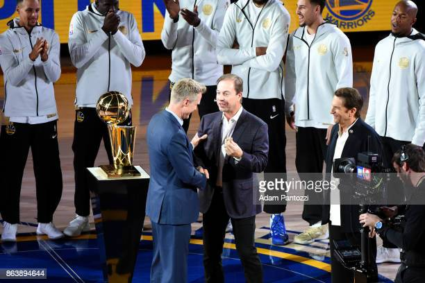 Steve Kerr of the Golden State Warriors receives his ring during the NBA Championship ring ceremony on October 17 2017 at ORACLE Arena in Oakland...