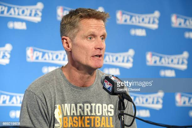 Steve Kerr of the Golden State Warriors talks with the press after the game against the Portland Trail Blazers during the Western Conference...