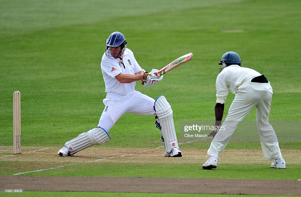 Steve Kirby of England Lions in action batting during day two of the match between England Lions and Bangladesh at The County Ground on May 20, 2010 in Derby, England.