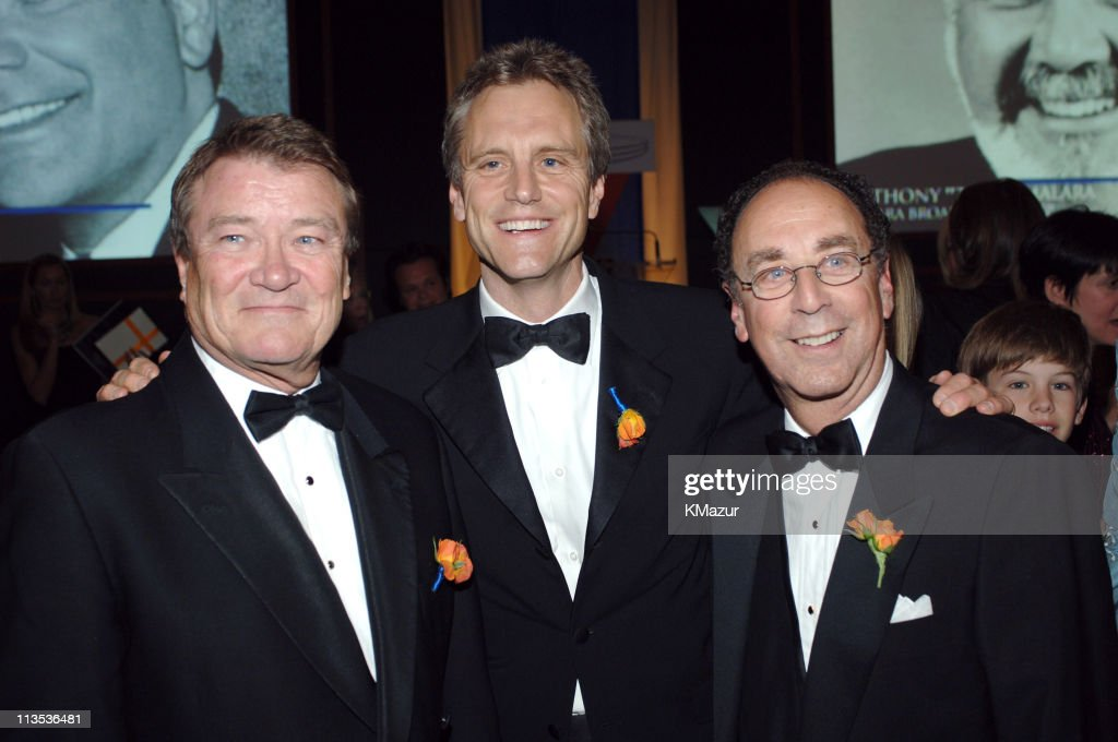 Steve Kroft John Sykes and Fred M Dressler during 40th Anniversary of Syracuse University's SI Newhouse School of Public Communication May 3 2005 at...