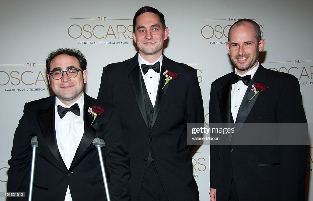 Steve LaVietes, Brian Hall and Jeremy Selan arrives at the Academy Of Motion Picture Arts And Sciences' Scientific & Technical Awards at Beverly Hills Hotel on February 9, 2013 in Beverly Hills, California.