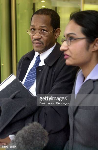 Steve Lee father of suicide victim Jermaine Lee listens as a statement is read out by one of the Lee family's legal team outside the Birmingham...